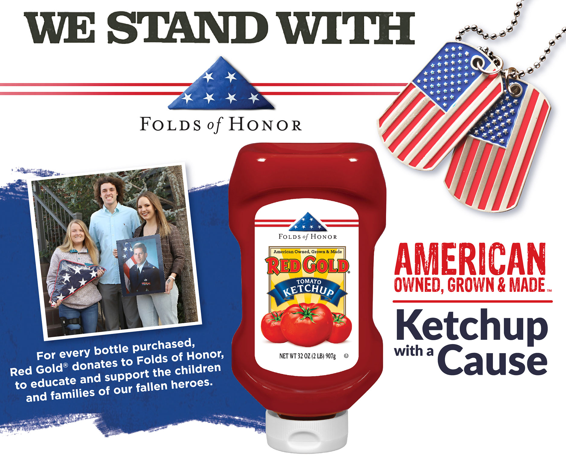 Image of Folds of Honor ketchup with Folds of Honor logo american flag military tags and famly recipient