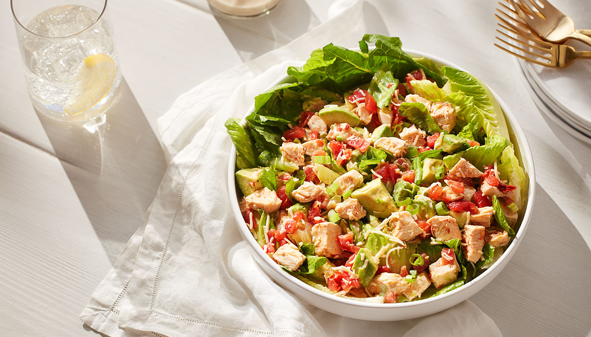 Image of Chipotle Chicken Salad in bowl on white table