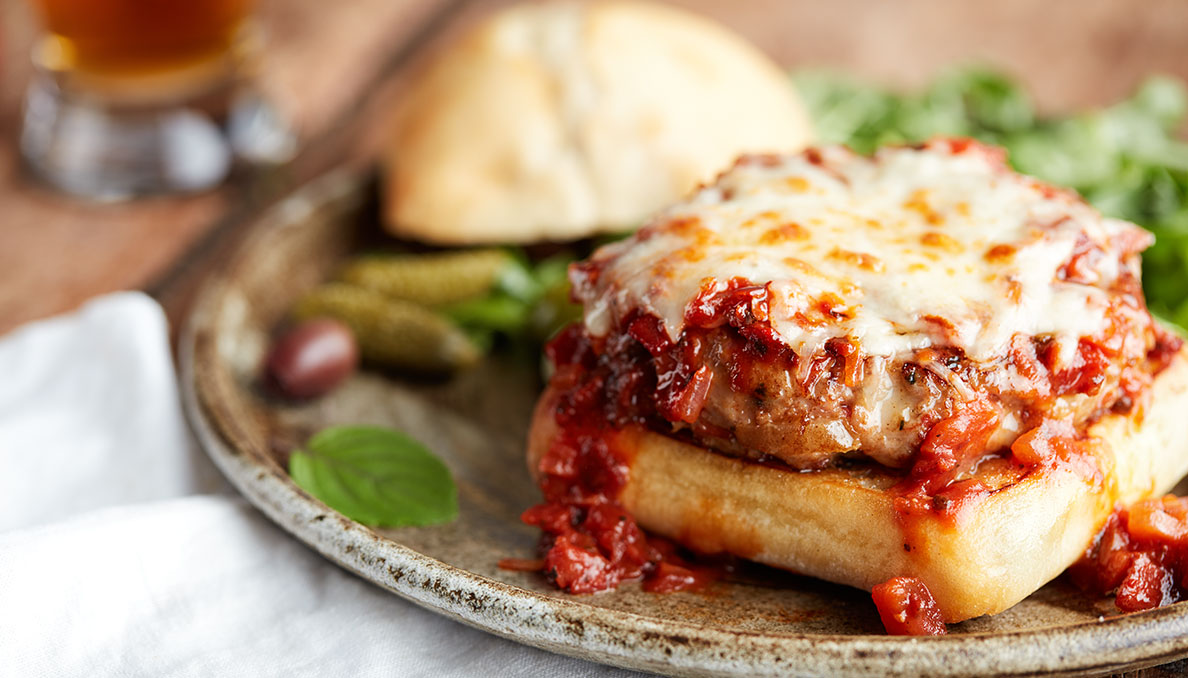 Image of Italian Pizza Burgers with pizza sauce and melted cheese