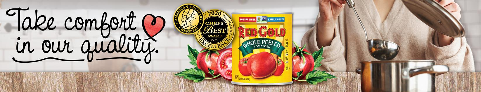 Image of Red Gold tomatoes and steel soup pot