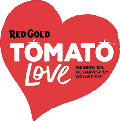 Image of Red Gold Love Tomato Love logo red heart with tagline