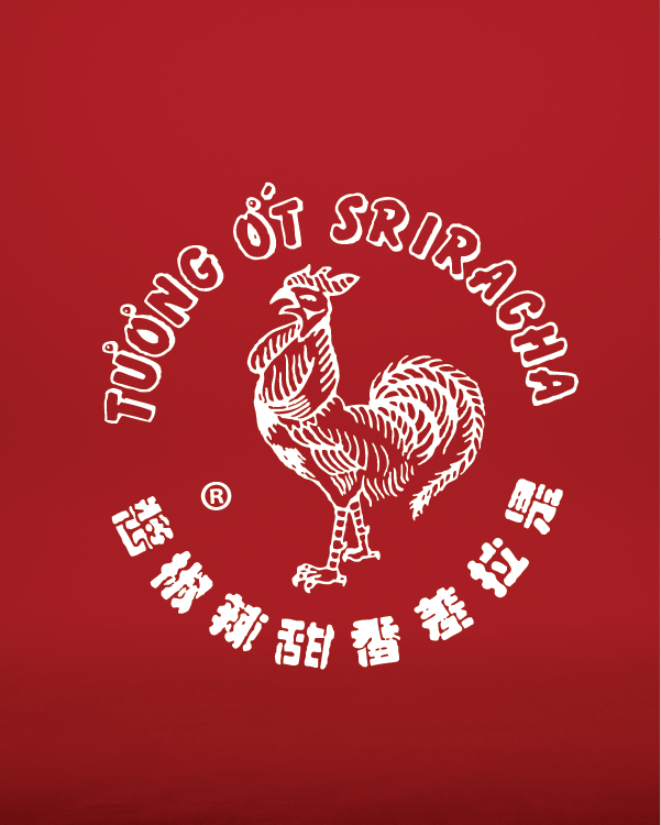 Image of Red Gold Sriracha logo with red background and Huy Fong Rooster