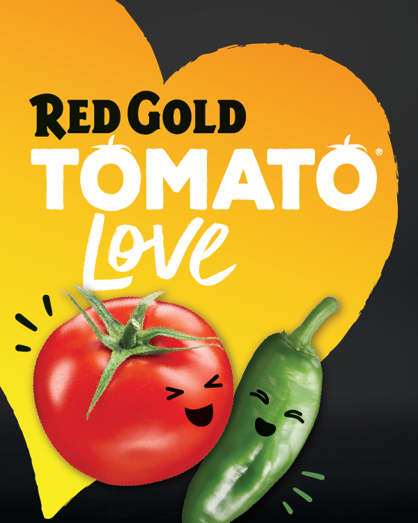 Image of Red Gold Tomato Love brand logo yellow heart with tomato and green chili pepper
