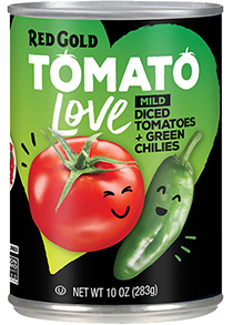 Red Gold Tomato Love Mild Diced Tomatoes with Green Chilies