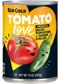Red Gold Tomato Love Original Diced Tomatoes with Green Chilies
